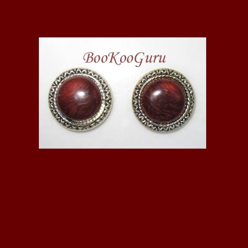 Set of 2 Vintage Button Covers, Brown Woodgrain Stone, Goldtone, Near mint