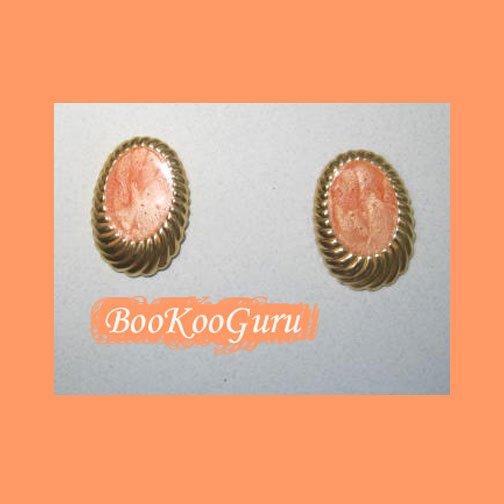 Coral Swirl Earrings, Post Style, Goldtone, Rare, Vintage, Estate