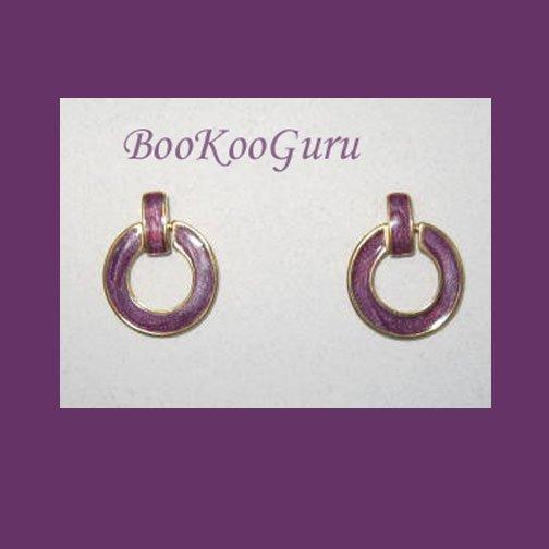 Purple Enamel Hoop Earrings, Vintage, Classic Style, Goldtone, BooKooGuru