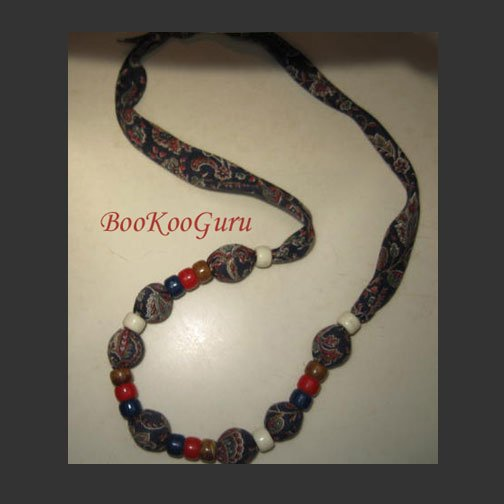 Vintage Paisley Fabric Necklace, Teachers Love These, Beaded, Handmade, Vintage Jewelry