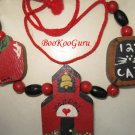 Wooden and Beaded Teacher Necklace, Handmade, Handpainted Blocks,Apple,Schoolhouse,Blackboard