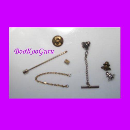 Tie Tack, Tie Pin, Vintage, Unique Style, Screw-on, BooKooGuru, Vintage Jewelry