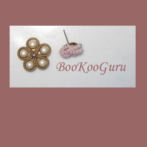 Pair of Items, Pink Beaded Stud Earring, Pearls on Goldtone Flower, BooKooGuru, Vintage Jewelry