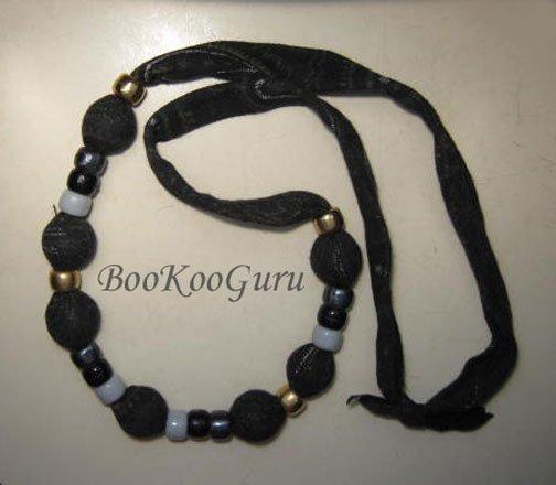 Black Fabric and Beads Necklace, Handmade, Teacher-approved, BooKooGuru, Vintage Jewelry