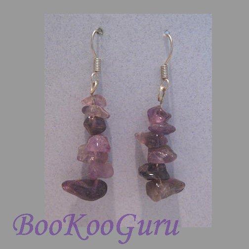 Genuine Amethyst Chip Dangle Earrings, Genuine Gemstones, Artisan Crafted