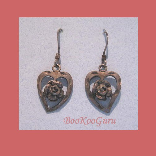 Copper-style Earrings, Cut-out Heart, Rose Center, Lever-back, Limited Edition, Vintage Jewelry