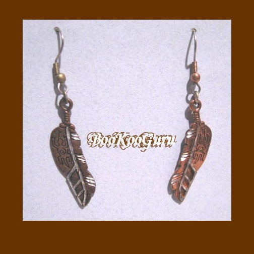 Feather Earrings, Southwest Style, Copper Color with Gecko Engraved, Rare, Vintage Jewelry