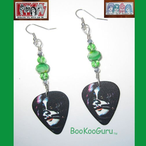 KISS Peter Criss Guitar Pick Earrings, Genuine KISS, Artisan Designed, Hand-crafted