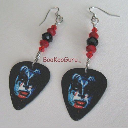 KISS Gene Simmons Guitar Pick Earrings, Genuine KISS, Artisan Designed, Hand-crafted
