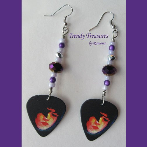 KISS Paul Stanley Guitar Pick Earrings, Genuine KISS, Artisan Designed, Hand-crafted