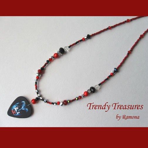 KISS Gene Simmons Guitar Pick Necklace, Original Design, Texas Artisan Crafted