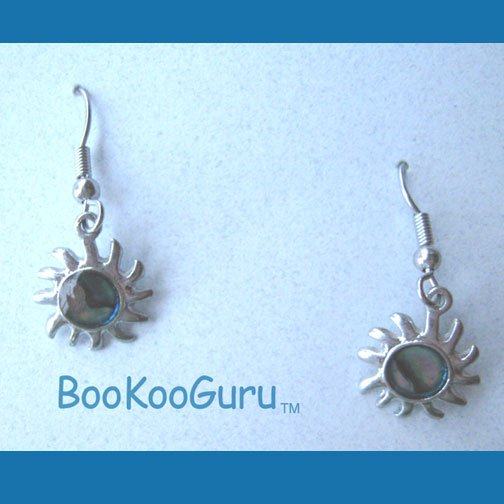 Tiny Sun Earrings, Blue Swirl Mother of Pearl Inset, Rare, Vintage Jewelry
