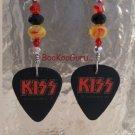 KISS Logo Guitar Picks Earrings,Artisan Original Design,Made in Texas