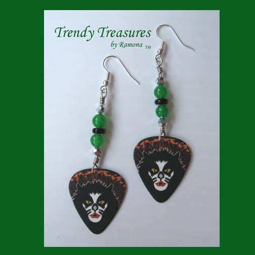 KISS Peter Criss Guitar Pick Earrings, Rock & Rollover Genuine KISS, Hand-crafted