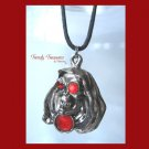 Skull Pendant, Cord Necklace, Silver, Red, Black, #TrendyTreasuresByRamona
