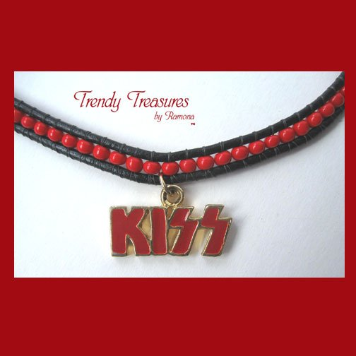 KISS Charm on Beaded Woven Cord Necklace,#TrendyTreasuresByRamona,Made in Texas