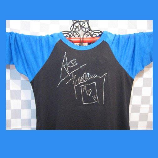 Ace Frehley Autograph Signature KISS! Bling Rhinestone Embellished T-shirt, Free Shipping