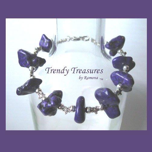Paul Stanley Bracelet, Bright Purple with Stars, Artisan Original Design, Made in Texas