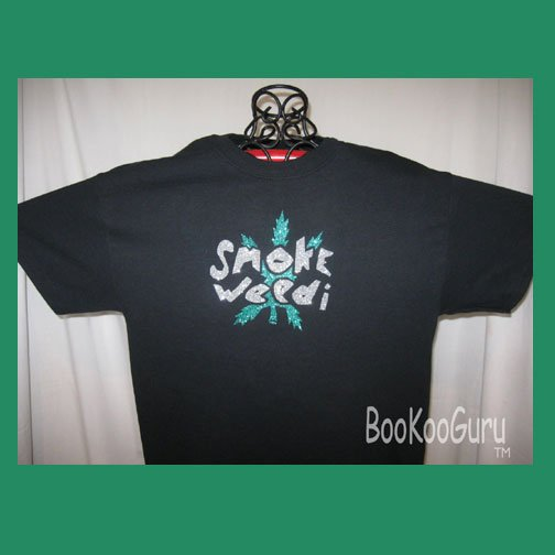 Smoke Weed Embellished T-shirt, Black, Glitter Vinyl, Original Design, Free Shipping