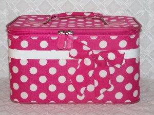 Large Fushia / White Dot Cosmetic Case