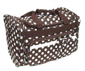 Brown / White Dot Duffle Bag