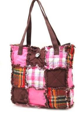 Pink/Brown Ragged Patch Handbag
