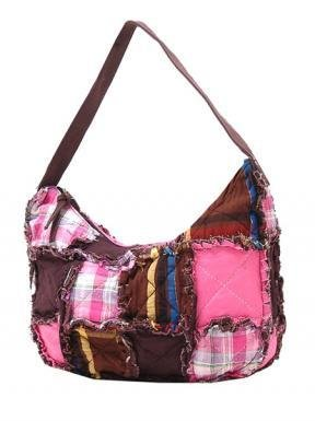 Pink/Brown Hobo Ragged Patch Handbag