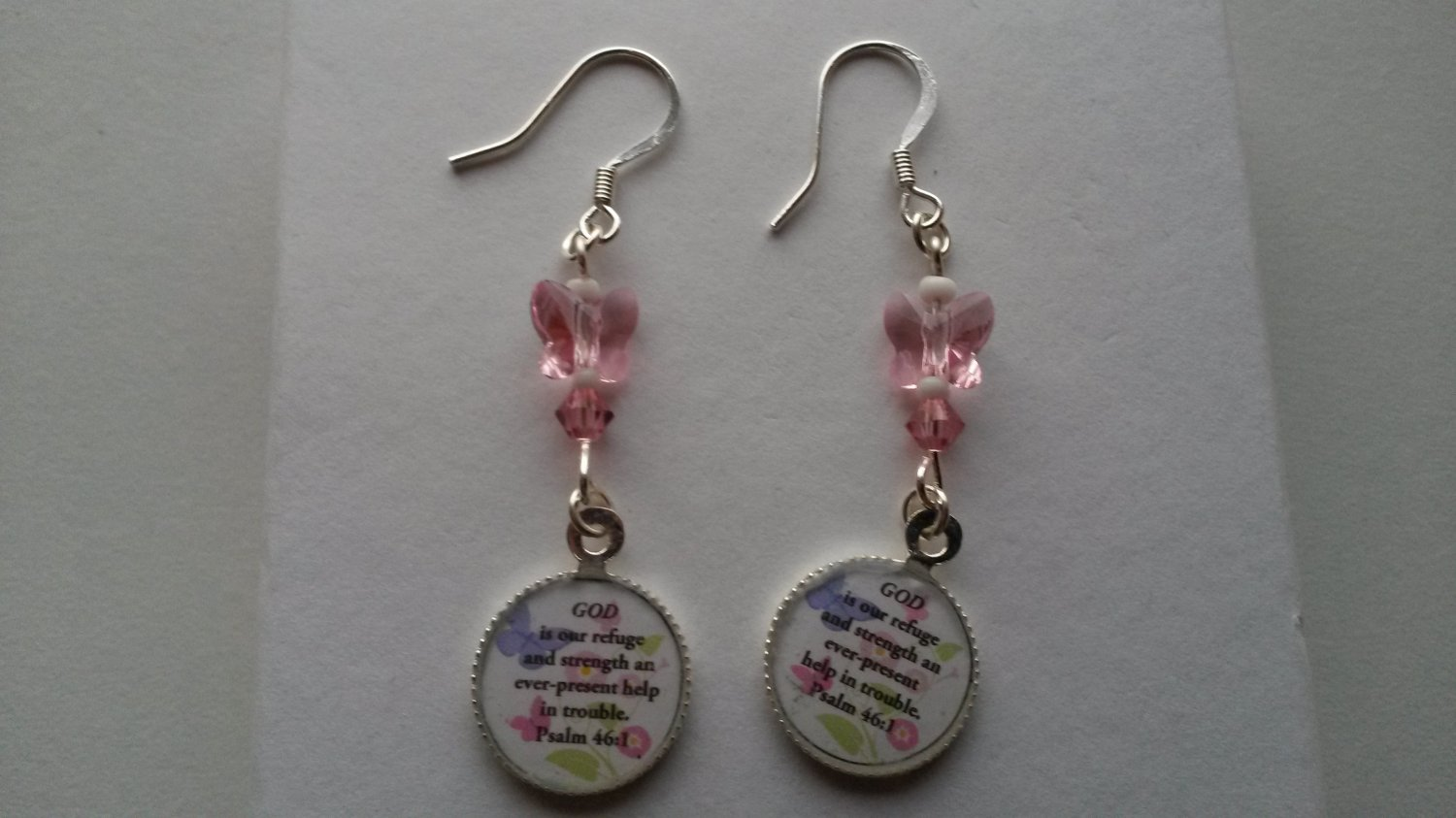 Swarovski crystal, sterling silver Bible verse earrings