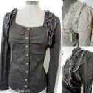 Nwt GIOIA Metallic Ruffled Dress Shirt top womens S,M,L Black sweetheart