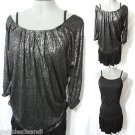 Nwt C. LUCE Formal to Summer Dress Set women S Black Metallic top Ruffled flirty