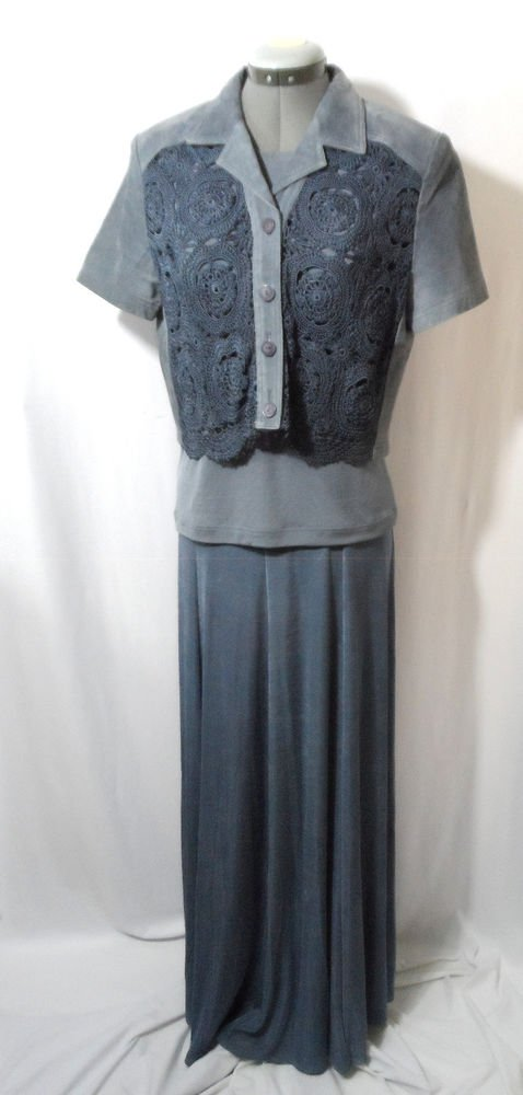 SKULLY western Leather Jacket & Skirt womens 8 M Blue SET OF 3 Crochet Lace Maxi