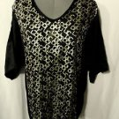 Nwt CALIFORNIA BLOOM Metallic Loose fit Top womens PLUS SMLXL Black Gold V neck