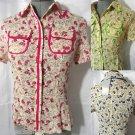 Nwt Fancy WESTERN floral Shirt top women S Green Blue w/ pocket button blouse SS