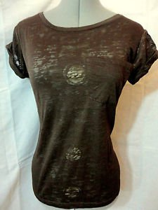 New AMBIANCE Sheer Shirt pocket top women S,M,L Brown Purple Burn out tee Cuffed
