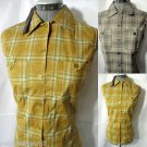 NWT plaid Western Shirt Top women S,M,L,XL Yellow or Gray tank w/ pocket Blouse
