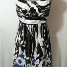 RUBY ROX Rockabilly Sun Dress women 5 SM White Black Floral empire Wedding Party