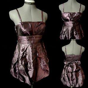 New POETRY Metallic Pleated Bubble Dress womens L Purple mini Empire Formal Prom