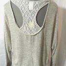 Nwt FANY D. Lace Back Sweater top womens SML Gray knit Open shoulder Chic Beachy