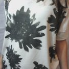Nwt WATERCOLOR Floral Tee shiort Top womens SM Charcoal Gray White scoop Peasant