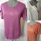 Nwt ZIPPERED Studs Pocket Tee shirt top womens SM White Tan Purple MATERNITY MOM
