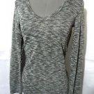 Nwt BASIC HOUSE v-neck Tee shirt top junior SM Black wash melange Fitted athletc