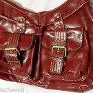 PLEATHER Shoulder bag Purse Red +Buckle pockets Medium size Peasant Boho chic