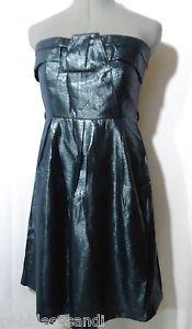 TCEC Metallic Formal Ball gown Dress womens M Blue Black Rockabilly Empire waist
