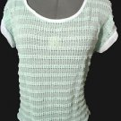 Nwt JOSEPH Q Crochet Top womens Plus 2XL 3XL Mint green Scoop t shirt Beach Tee