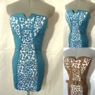 Nwt NARANKA Leopard Bodycon Dress women SML Blue Brown WILD ANIMAL Print Summer