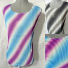 Nwt JON&ANNA Spring Top womens M Blue Purpl Gray Black Accorian pleated blouse