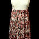 Nwt NOBO Hi-Lo Maxi Dress junior M Ivory texture, Pink Black Chiffon Beach bunny