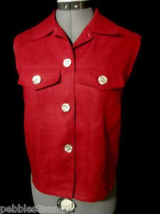 DAVID BROOKS Linen Vest women M Red lined Mother Pearl of buttons Career dressy