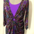 NWT Ring front SLINK scoop neck Cardigan top women XS Black floral twinset 2-fer