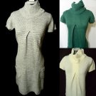 Nwt LOVE 2 Be FREE Cowl Sweater Dress womens Wool Tunic w/pockets Button collar